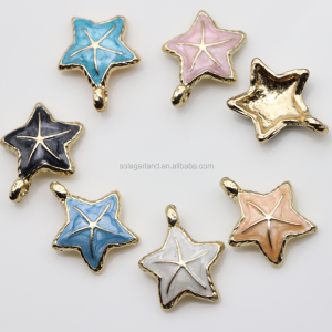 Gold Tone Plated Charms Mixed Color Starfish Seastar Oil Drop Bracelet Jewelry Charms