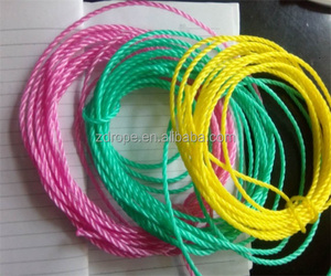 Yiwu 2mm PP/ PE rope Multicolor plastic cord Polypropylene monofilament rope for wholesale