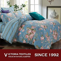 New elegant floral comforter set queen size bed in a bag bedding-blue