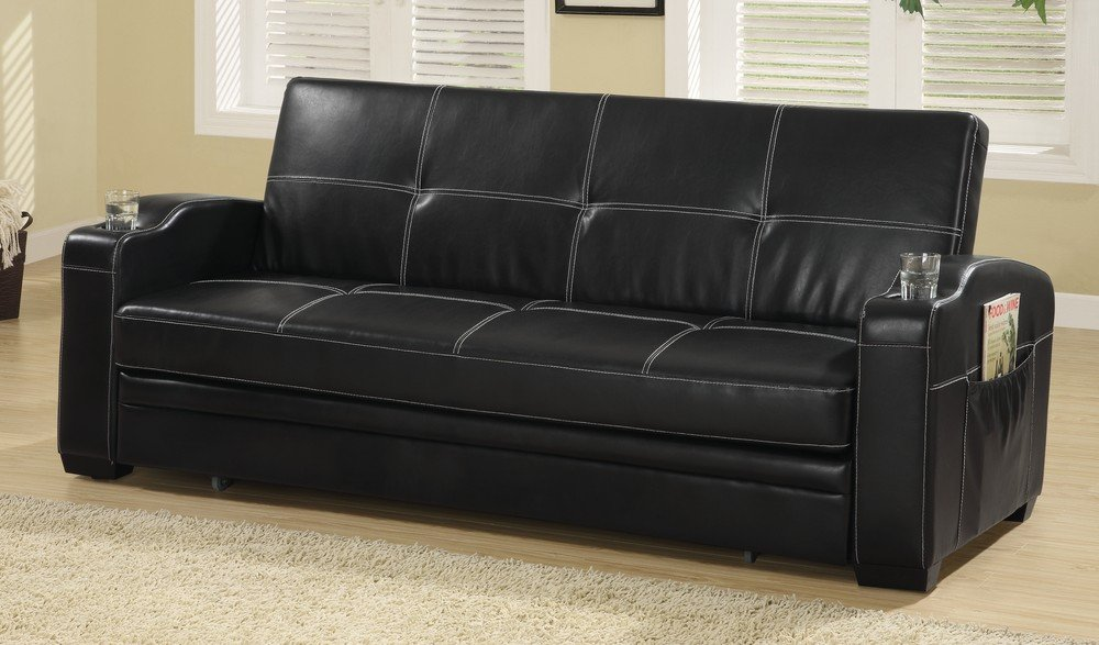 Get Quotations · Coaster Fine Furniture 300132 Faux Leather Sofa Bed With  White Stiching, Black