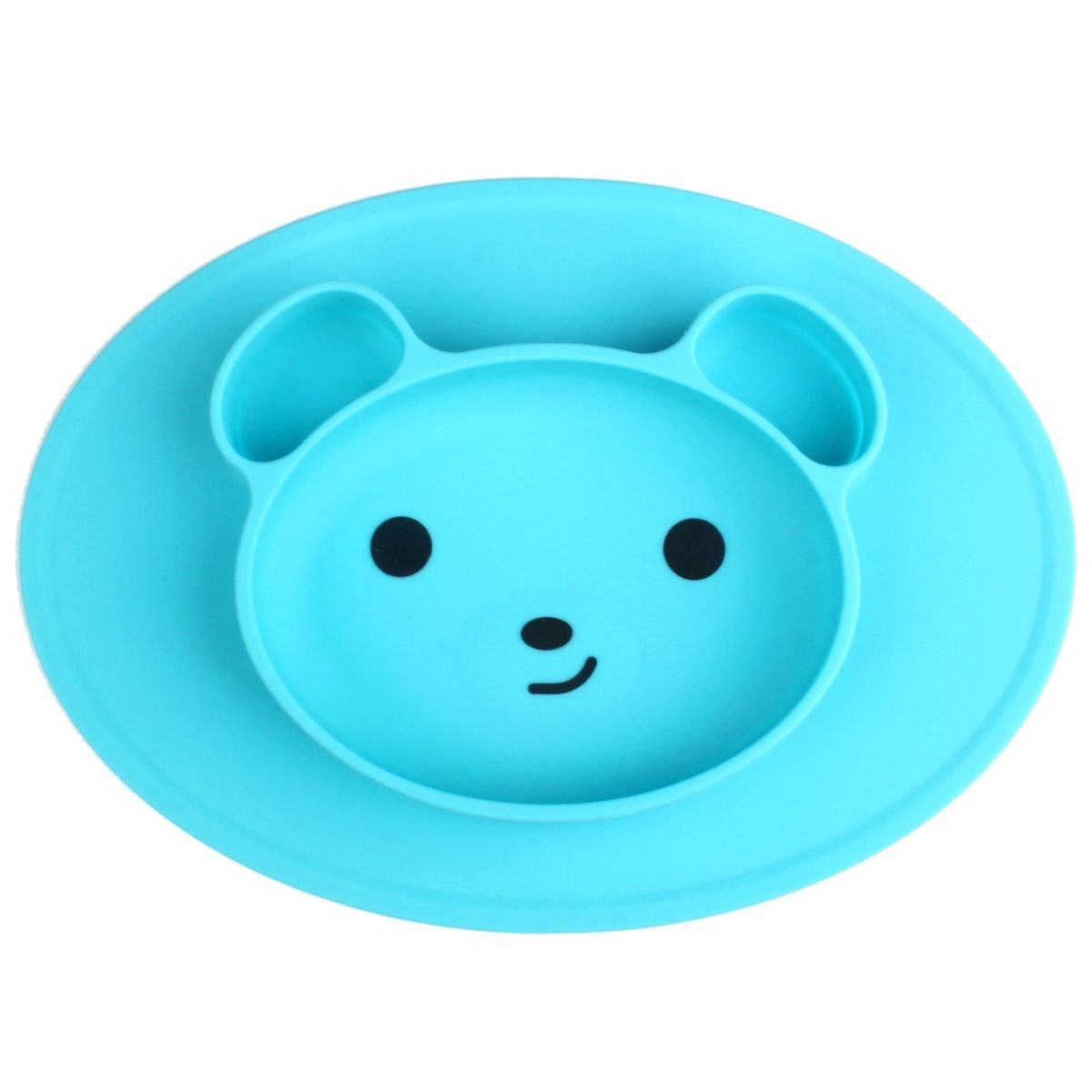 Baby Silicone Suction Placemat for Toddlers and Kids, Baby Portable Suction Plates BPA Free Bear Feeding Trays Dishwasher and Microwave Safe Fits Most High Chair Trays, Blue