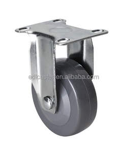 "EDL Light 3"" 70Kg Grey Polyurethane PU Wheels Castors Plate Fixed Rigid Swivel Roller Industrial Casters Wheels for trolley"