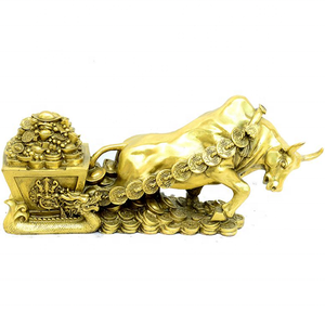 Metal decorative animal sculpture brass bull cow statue