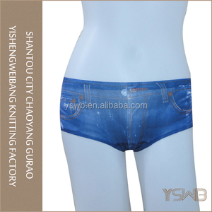 Fashion jeans patterned hipster girls panty cotton seamless underwear