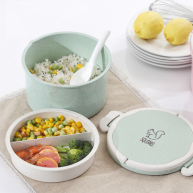 900ml two layer round rectangle hot lunch bento box lunch with handle