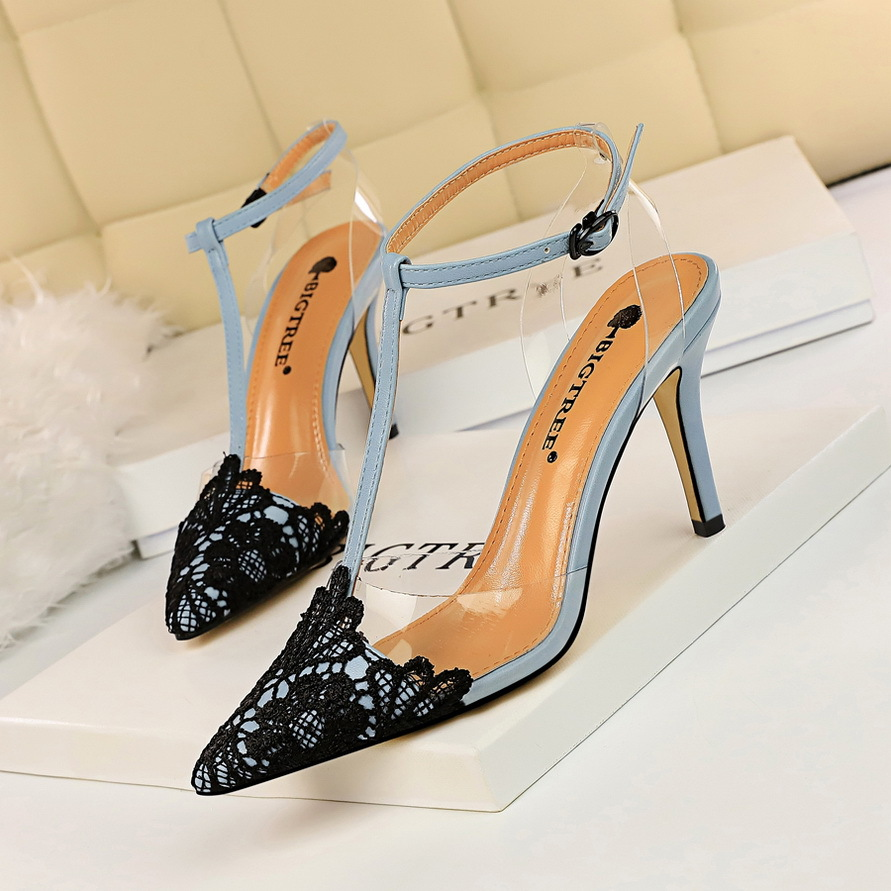 women shoes high <strong>heel</strong> lace pointed toe T-strap sexy stiletto high <strong>heels</strong> sandals