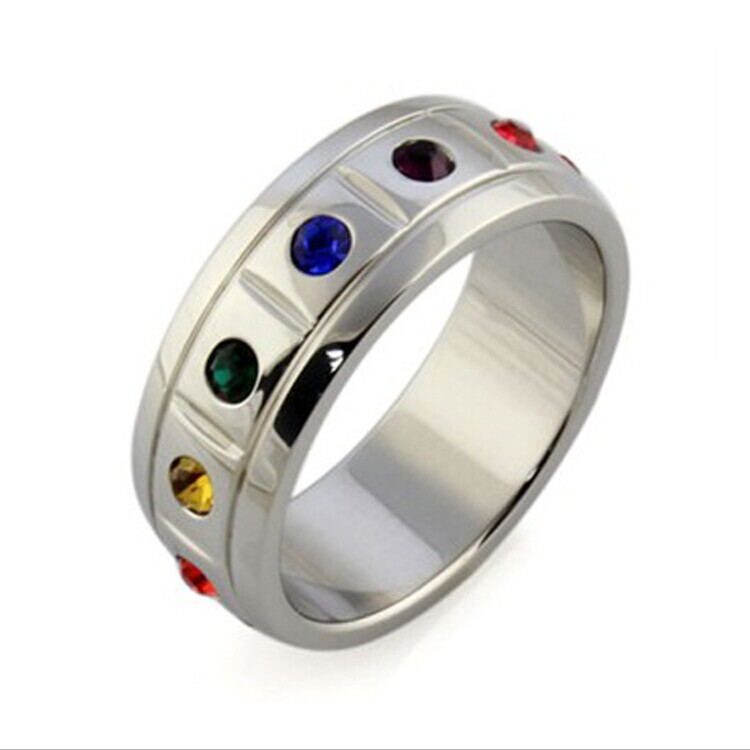 Stainless Steel Rainbow Gay Pride Wedding Rings Jewelry