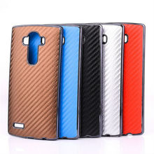 Carbon Fiber Cell Phone Case,For Lg G4 Leather Sticker Chrome PC Hard Back Cover
