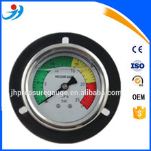 50mm black steel case brass connection back mounti dual scale refrigerant pressure gauge with front flange
