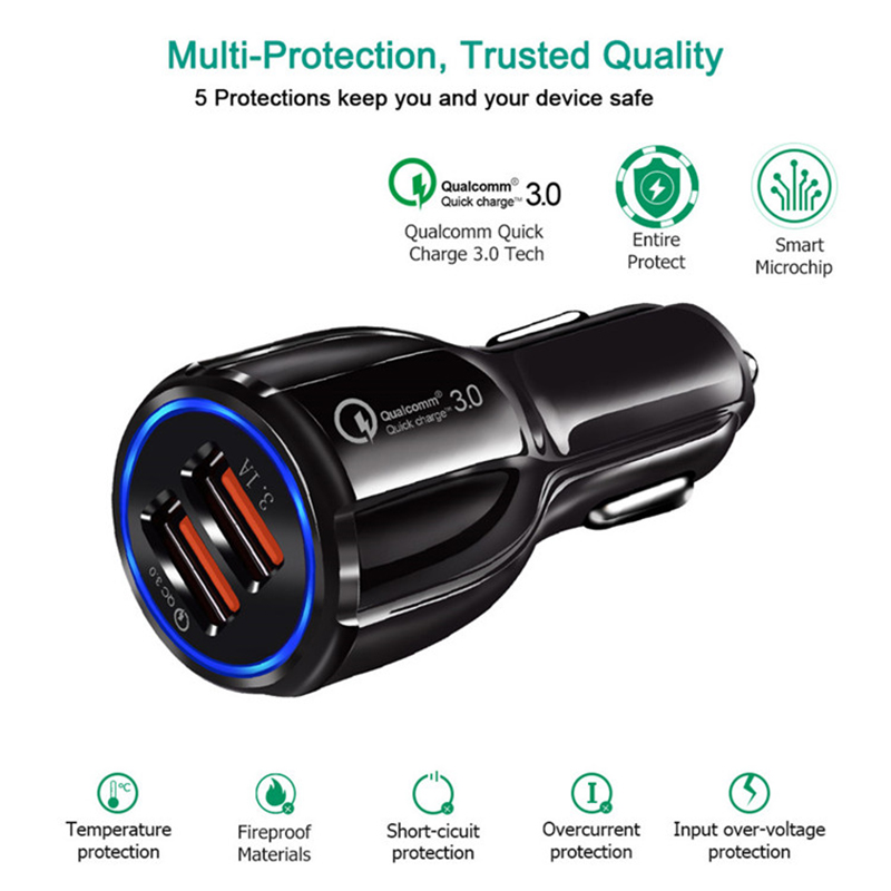 High quality usb charger, dual ports usb car charger for cell phone