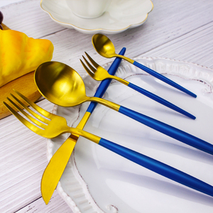Blue Gold Plated Flatware Set Gold 72 Pcs Cutlery Set