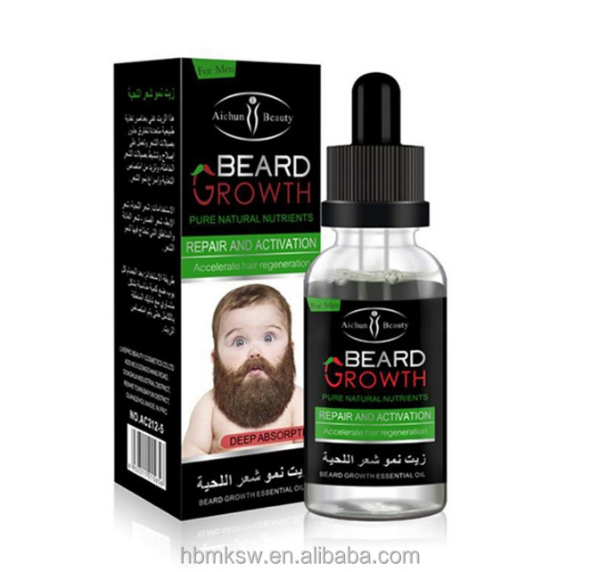 China Private Label AICHUN 40ml natural Organic regrowth hair growth oil men beard oil, Transparent
