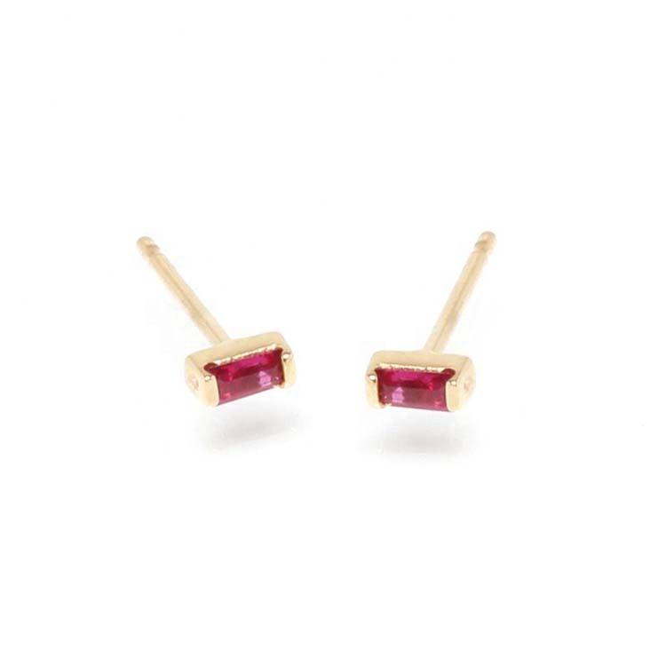 Alibaba.com / LOZRUNVE Solitaire 925 Sterling Silver Color Tiny Ruby Red Baguette CZ Stone Stud Earring