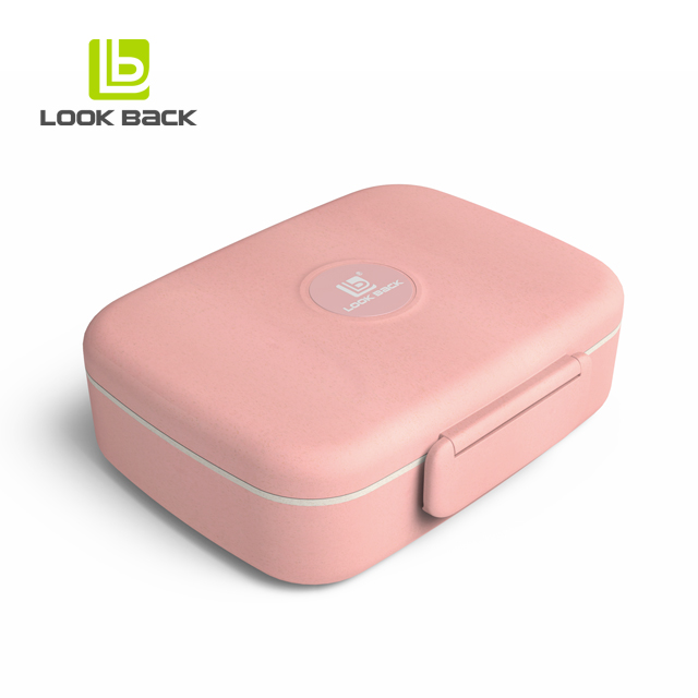 Amazon top verkoper 2019 Microwavable tarwe stro bento lunchbox met lepel en vork