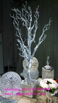 silver glitter artificial tree branches wedding table tree rh alibaba com Tree Branch Centerpieces Winter Centerpieces