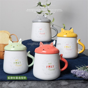 OXGIFT Wholesale 340ml Carton Fox Ceramic Mug For Sublimation Milk Breakfast Fruit Cup