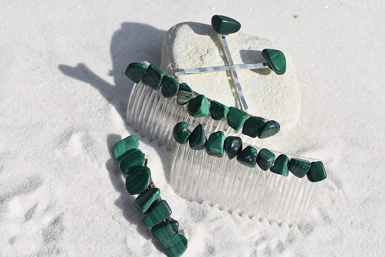 Malachite Stone Hair Clip Set - Includes 2 Hair Combs, 1 60 mm French Barrette, 2 Hair Pins