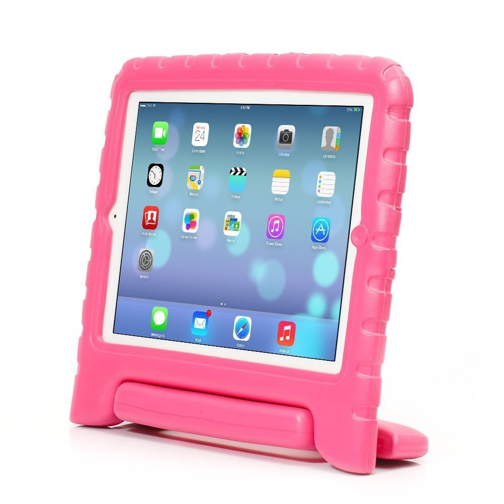 iPad Air 2 Case, Auttbi Apple iPad Air 2 Case Shockproof Case Light Weight Kids Case Super Protection Cover Handle Stand Case for Kids Children For Apple iPad Air 2 (2014 Released) (Pink)