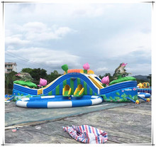 Land Water Park Inflatable GIant Outdoor Amusement Park Playground Equipment Kids Inflatable Waterpark With Seaball