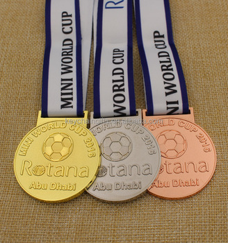Custom cheap plated gold silver bronze football medal / sports medal for kids