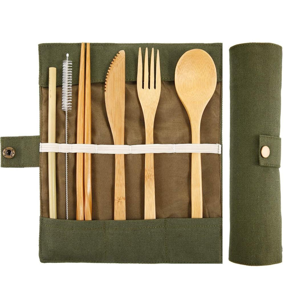Eco Friendly Flatware Set Bamboo Utensils and Cutlery Set Bamboo Travel Utensils Camping Utensils Set фото