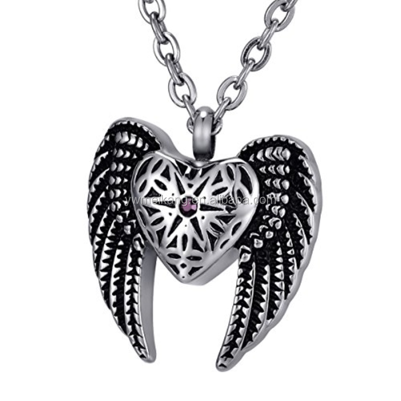 Engraved Personalized Angel Heart Wings