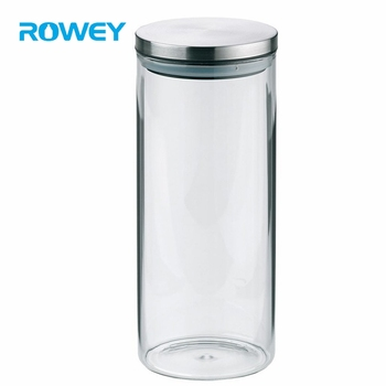 Fancy Design Wholesale New Pure Glass Storage Jar With Stainless Steel Lid