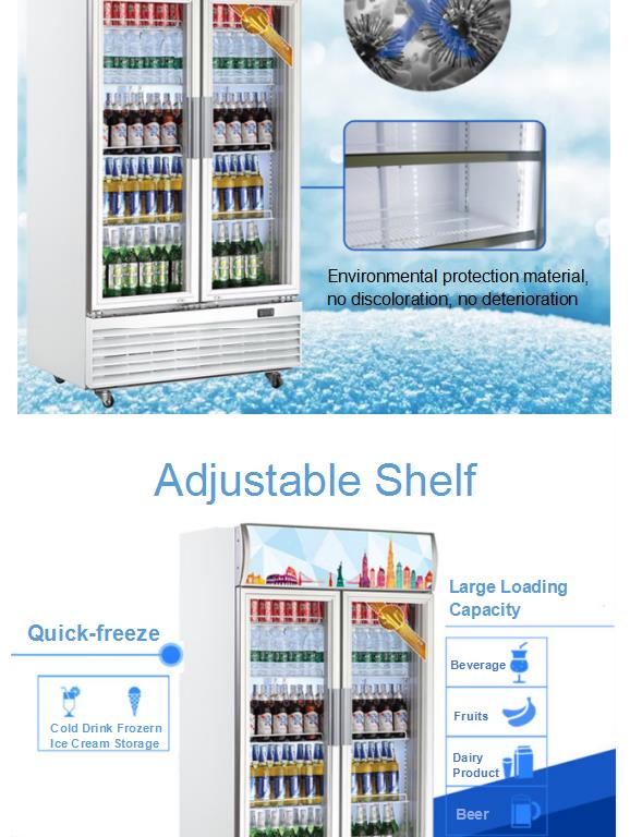 665L Supermarket Self Closing Glass Door Display Commercial Fridge Drinks Showcase Visi Cooler Chiller Upright Refrigerator