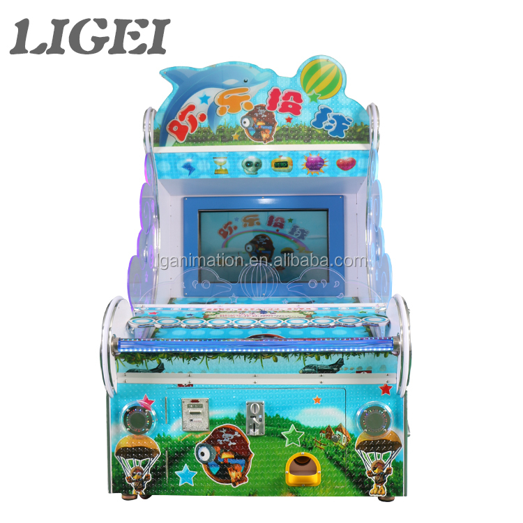 Funny video arcade games coin operated Happy Pitching ball shooting machine for children