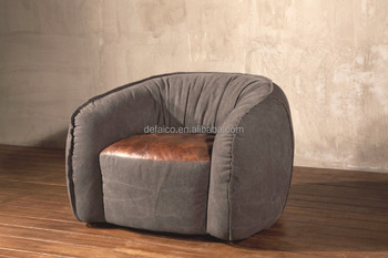 Vintage Grey Washed Canvas Antique Master Leather Bean Bag Chair