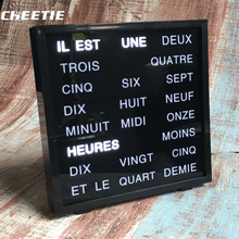 Free sample unique design LED word clock Germany text clock Russian