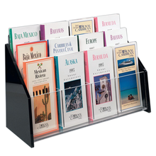 Tiered Leaflet Holder with 12 Pockets for 4x9 Brochures Clear Plexiglas Brochure Rack for Tabletop Use with Black Acrylic Sides