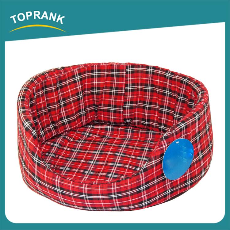 Luxury pet dog bed wholesale soft checked fabric bed for dog