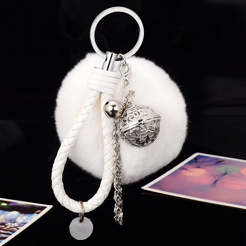 Get Quotations · Womens Fur Pom Pom Fluffy Ball Keychain Fur Ball Keyring  Bag Charm Women Bag Accessories White 117a9dfb46b60