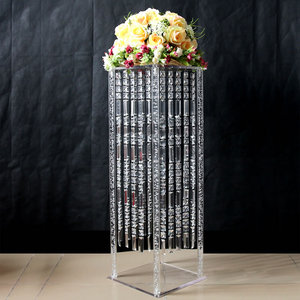 90cm Tall Modern flower stand square transparent crystal flower stand with crystal hanging