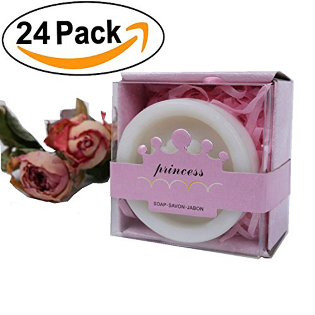AiXiAng 24 Pack Handmade Princess Crown Style Soap Favors for Baby Shower Favors Decorations for Girl