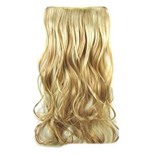 Curly Hair Extensions - TOOGOO(R) Clip In Hair Extensions Hairpiece 24inch/60cm 120g Curly Wavy Hair Extension Synthetic Heat Resistant (Gold #25H613)