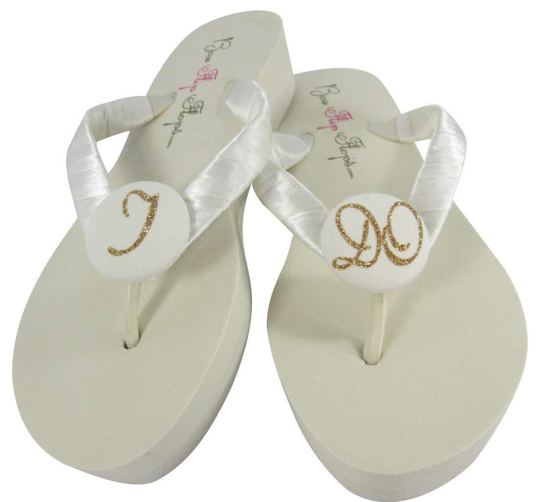 8aa2b5f1eb65b Bridal Flip Flops Wedding Ivory Wedge White Platform Bride Rose Gold Heel  Satin Diamond Rhinestone Flip Flops