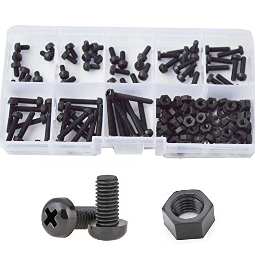 M3 Nylon Screw Plastic Pan Round Head Metric Machine Screw Nut Bolt Assortment Kit Black M3X5mm 6mm 8mm 10mm 12mm 15mm 20mm 25mm,160pcs
