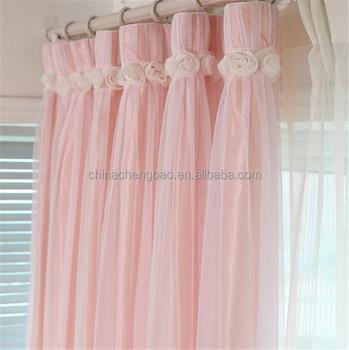 Colourful Silk Chiffon Fabric Ready Made Sheer Veil Lace Manual Curtain