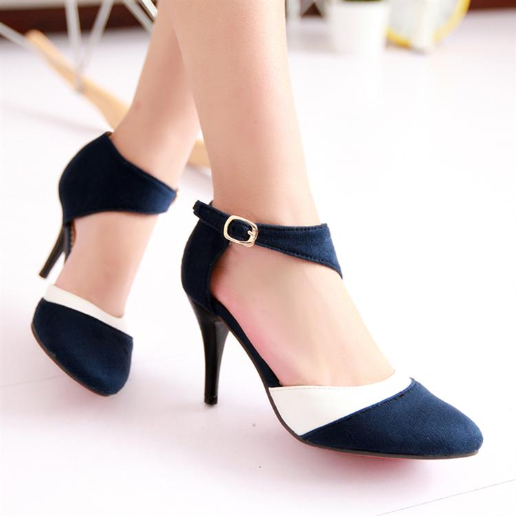 4999dd9a08d Get Quotations · color block decoration thin heels sandals toe cap covering  scrub hasp high-heeled pointed toe