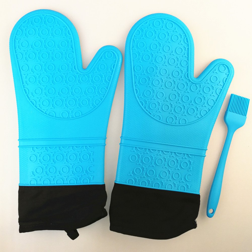 Oven Gloves Silicone Oven Mitts, Grilling Gloves, BBQ Potholders, Baking Gloves, Kitchen Mitt, Cooking, BBQ Accessories, Pot Holders, Heat Resistant Waterproof & Dishwasher Safe1 Pair Color Blue