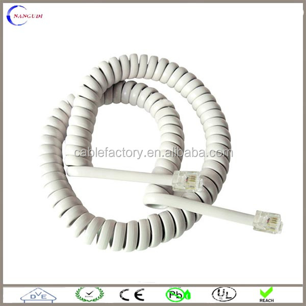 Coiled 2 Wire Phone Cord White Rj11 4p2c Connector Cable - Buy Rj11 ...