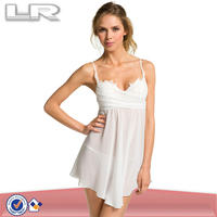 Wholesale Women White Chiffon Babydoll Chemise