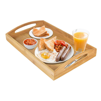 Bamboo Wood Serving Tray With Handles for Food,Breakfast Tray,Party Platter,Nesting,Kitchen and Dining