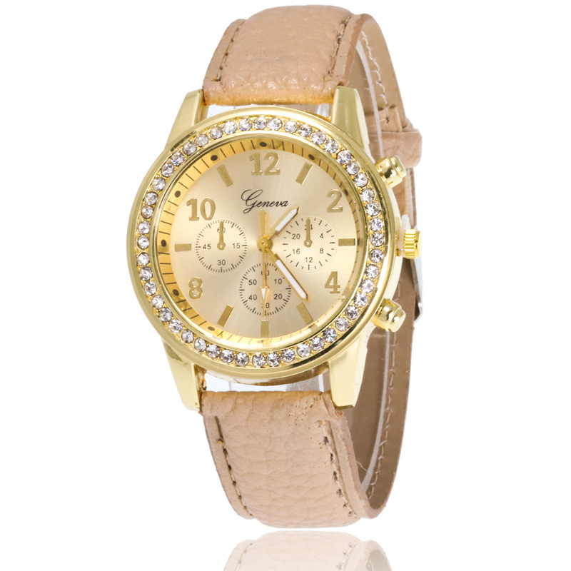 High Quality Fashion Women Geneva Analog Leather Quartz Watch Rhinestone Crystal Lady Dress Wristwatches GW119, 10 different colors as picture