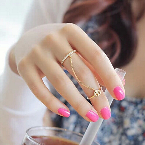 LZ 2016 New Fashion Top Quality Fine Jewelry Antiwar Peace Sign Tassel Chain Rhinestone Rings For
