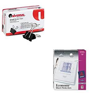 KITAVE75091UNV10200 - Value Kit - Avery Top-Load Poly Three-Hole Sheet Protectors (AVE75091) and Universal Small Binder Clips (UNV10200)