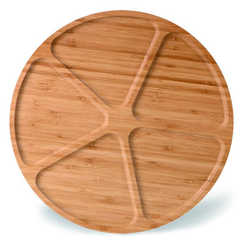 Divided Large Round Wood Bamboo Snacks Fruit Serving Tray