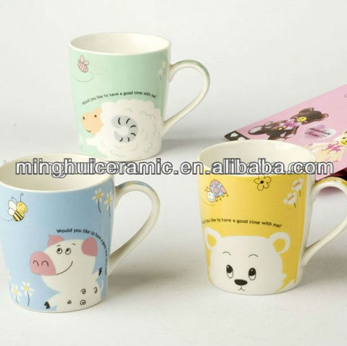 Cute porcelain kids animal mickey mouse monkey pig design ceramic tea mugs print cartoon character children's milk cup wholesale
